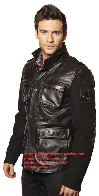 MOOSE KNUCKLES Men's short classic down leather jacket Motorcycle leather clothi