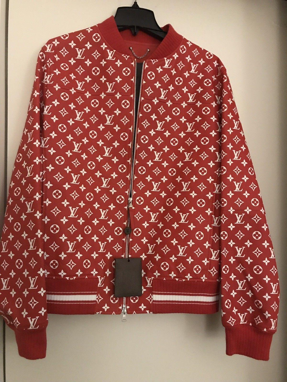 54cded1b235c ... Supreme X Louis Vuitton Red Leather Blouson Monogram Bomber Jacket ...