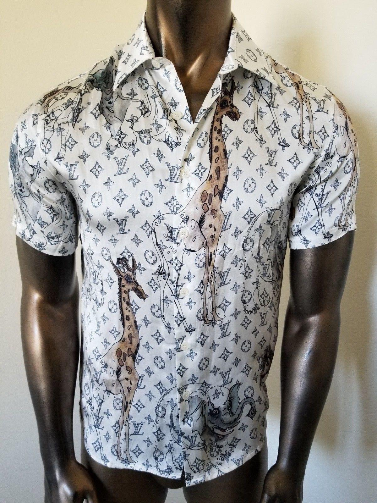 93fdc81ae188 LOUIS VUITTON Monogramm Giraffe Chapman Brothers SILK SHIRT LV cheap luxury  sale 1 ...