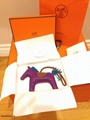 NEW HERMES RODEO MILO HORSEHAIR LAMBSKIN GRIGRI BAG CHARM PM ROSE POURPRE BLUE 15