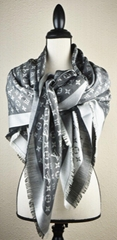 NEW LV Monogram Denim BLACK Silk Scarf/Shawl 100% M71378 Louis Vuitton scarves