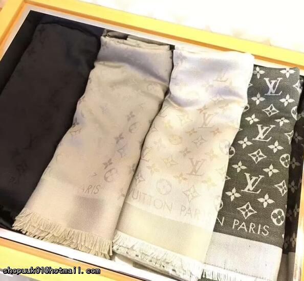 LV Monogram Silk/Wool Shine Scarf/Shawl lv scarves cheap M75123 Louis Vuitton 17