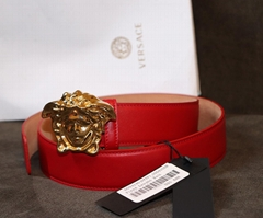 Versace Gold Medusa BLeather Medusa Gold Buckle Belt men women belts buckle