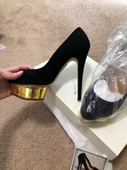 Charlotte Olympia Dolly Black Suede Gold Platform Pumps ladies high heel shoes