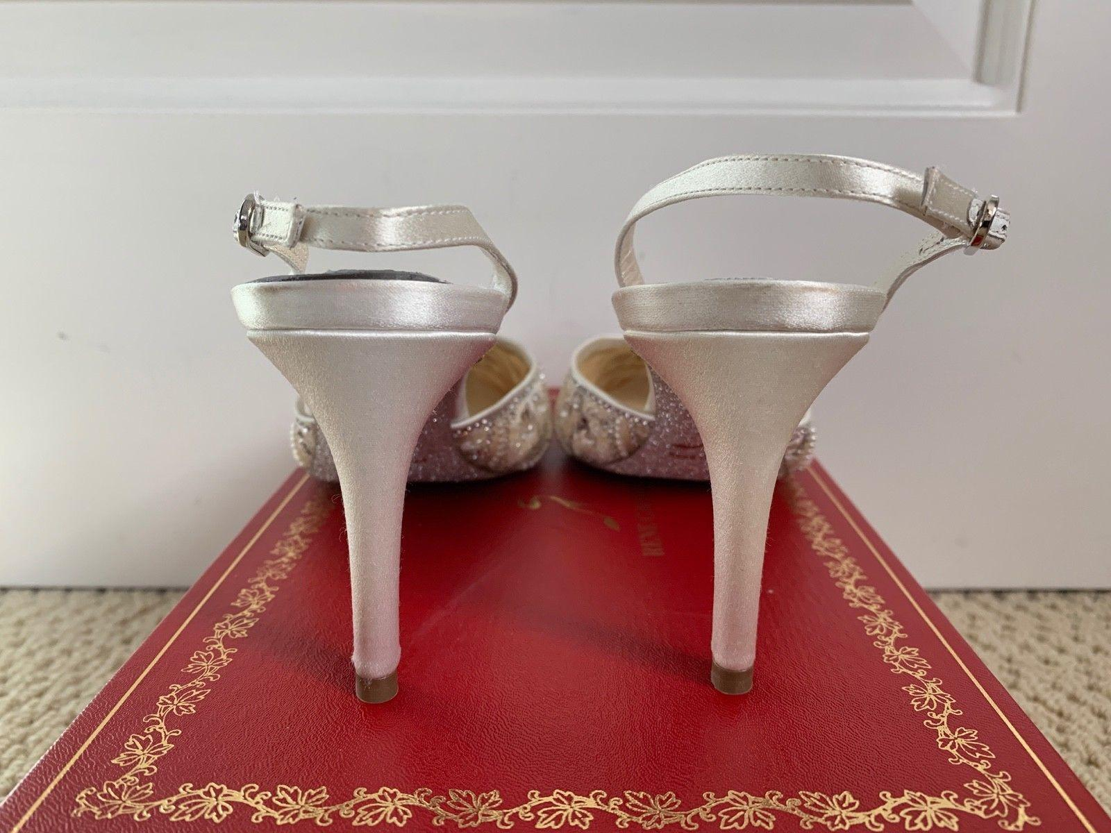 Rene Caovilla Off White Beaded Crystal Pointed Slingback Pumps ladies fashion