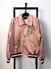 Fear of God Pink Raglan Satin Bomber Jacket FOG  Men jackets Baseball