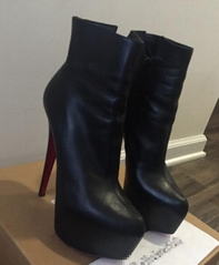 Christian Louboutin Daf Booty in Black Calf Leather discount shoes online sale