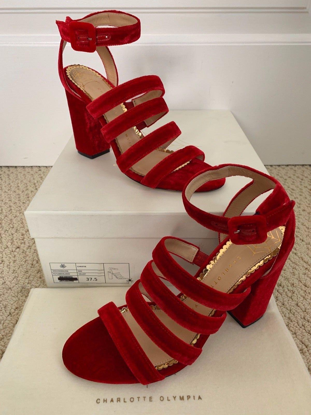 8132ff5e8d Charlotte Olympia Christie Red Velvet Strappy Sandals women sexy party Heels  ...