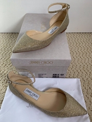 Jimmy Choo Lucy Gold Glitter Ankle Strap Pointed Ballet Flats women fashion shoe