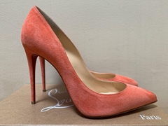 Christian Louboutin Pigalle Follies Charlotte Peach Suede Pointed Pumps cl shoes