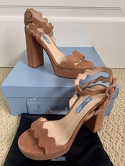 Prada Dark Nude Beige Suede Wavy Ankle Strap Platform Sandals women party shoes