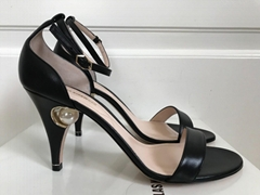 Nicholas Kirkwood Pearl Black Leather Ankle Strap Sandals Heels women party shoe