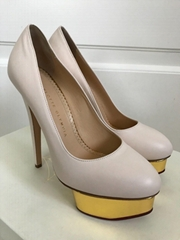 Charlotte Olympia Dolly Classic Powder Gold Platform Pumps women fashion shoes