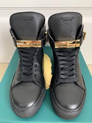 Buscemi 100MM Alta Black Leather Wedge High Top Sneakers men women cl shoes