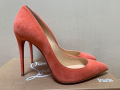 Christian Louboutin Pigalle Follies Charlotte Peach Suede Pointed Pumps women