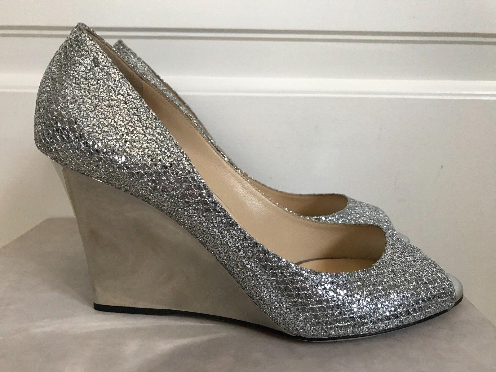 7fd1be66656 Jimmy Choo Baxen Metallic Silver Glitter Peep Toe Wedge Pumps ladies ...