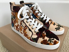 Christian Louboutin Bip Bip Rose Floral Velvet High Top Sneakers red sole shoes