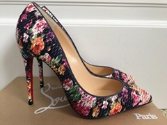 Christian Louboutin Pigalle Follies Floral Navy Quilted Pointed Pumps women heel