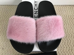 Givenchy Mink Fur Logo Flat Slide Sandals winter fashion women slipper shoes
