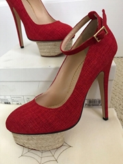 Charlotte Olympia Dolores Red Espadrille Platform Pumps women high heels shoes