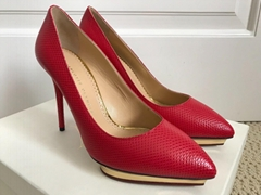 Charlotte Olympia Debbie Red Snakeskin Pointed Platform Pumps red heels shoes