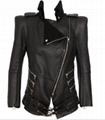 Balmain Black Shearling Lined Biker