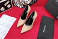 2019 Small pointed high heels High-quality mirror cowhide Sheepskin foot pad