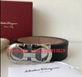 SALVATORE FERRAGAMO Thin Gancio Pebble Calf Leather Belt