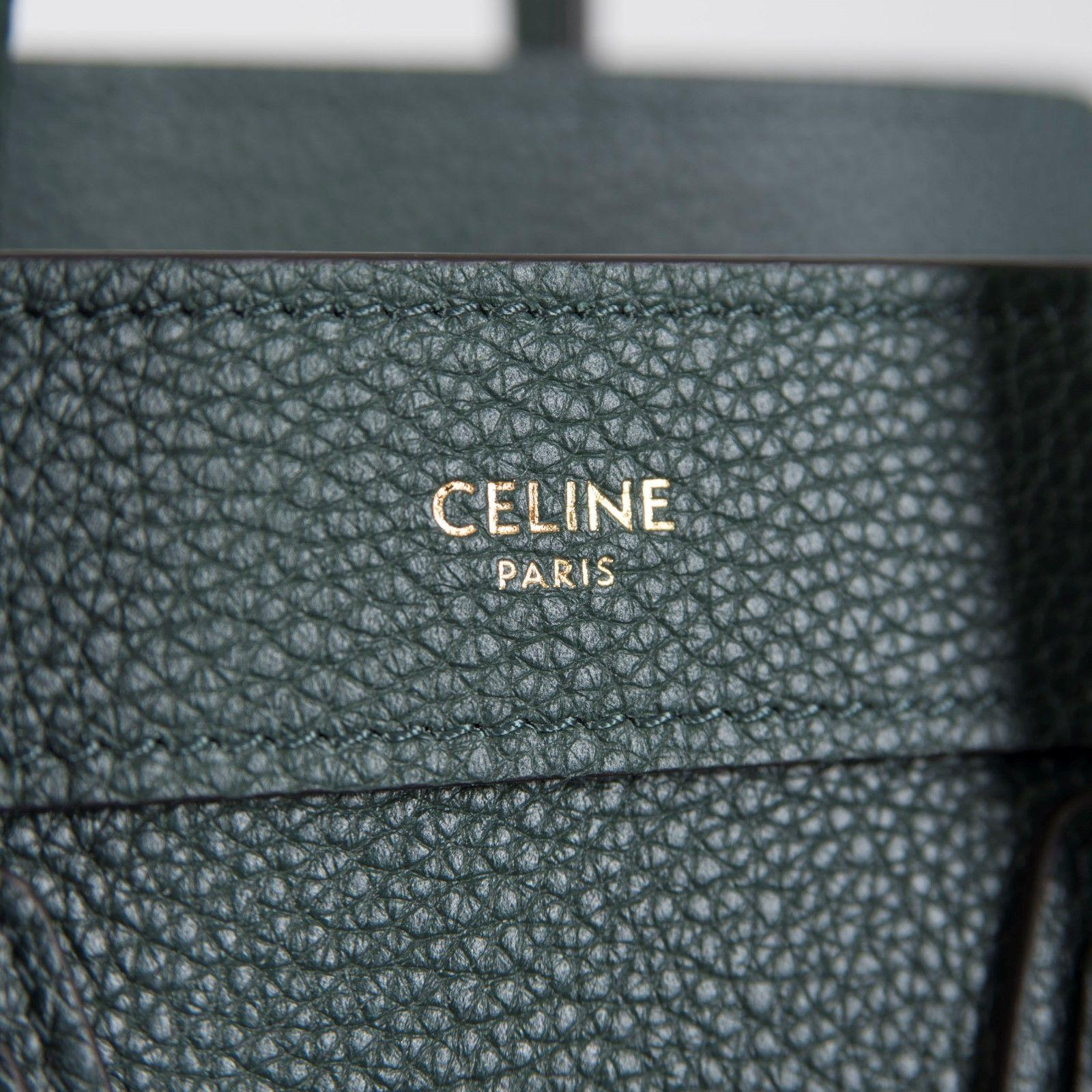 CELINE Nano Luggage Bag With New Logo In Amazon Drummed Calfskin women brand bag