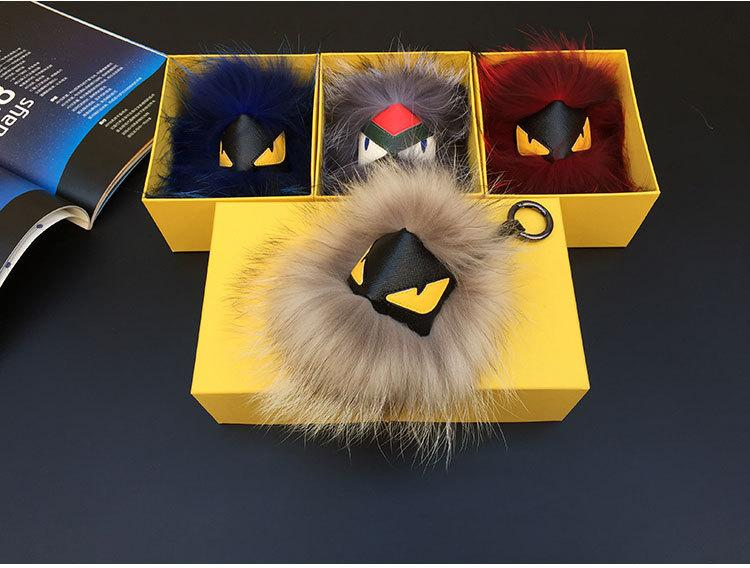 Fendi dyed fox fur (Finland) monster charm for bag or briefcase.