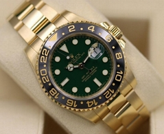 Rolex GMT Master II 116718 18K Yellow Gold & Green Dial - Box & Papers