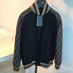 Fendi FF logo varsity jacket with striped trim Baseball jackets men women cheap