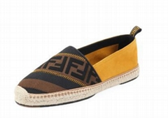 Fendi canvas leather FF Colorblock Espadrilles with FF-print stripes.men women