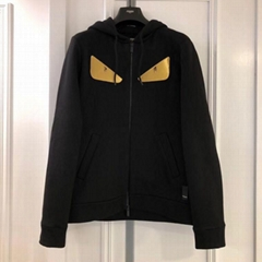 Fendi Men's Gold Bugs Zip-Front Hoodie Sweatshirt women zipper hoodies cheap