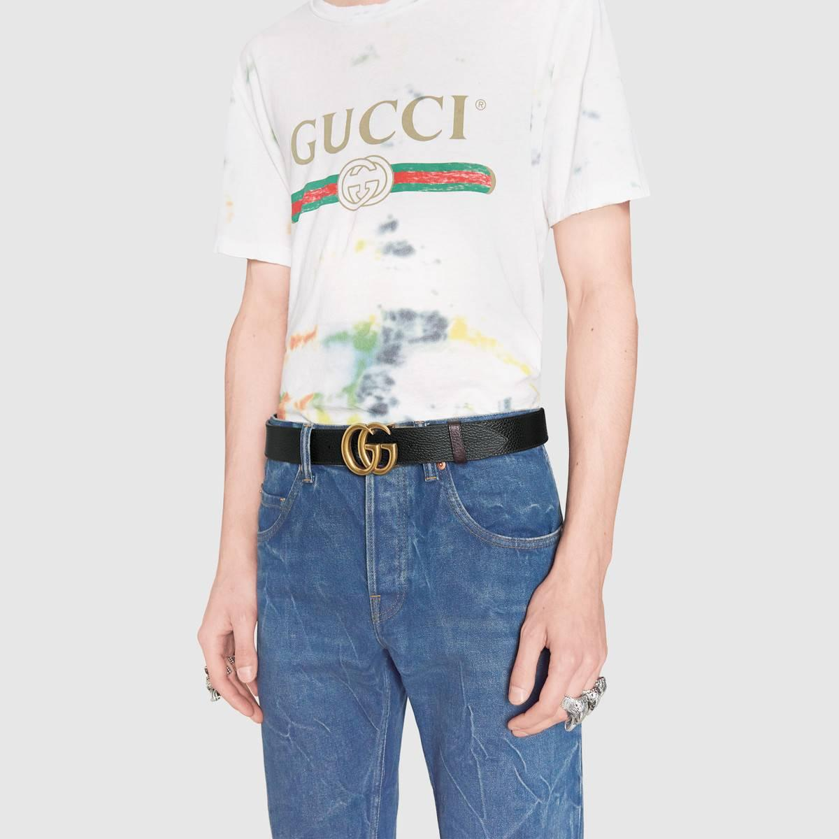 3df73a98d77 Gucci Reversible leather belt with Double G buckle Cheap Men ...