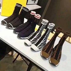 Fendi pointelle-knit sock sneaker with FF detail  flat heel. Round toe. Lace-up