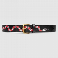 Gucci GG Supreme canvas belt with Kingsnake print Fashion men belts