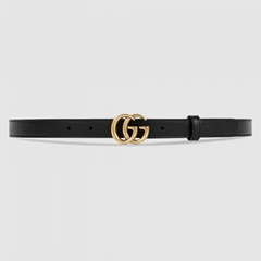 Gucci Ladie 2cm Leather belt with Double G buckle Cheap small women belts
