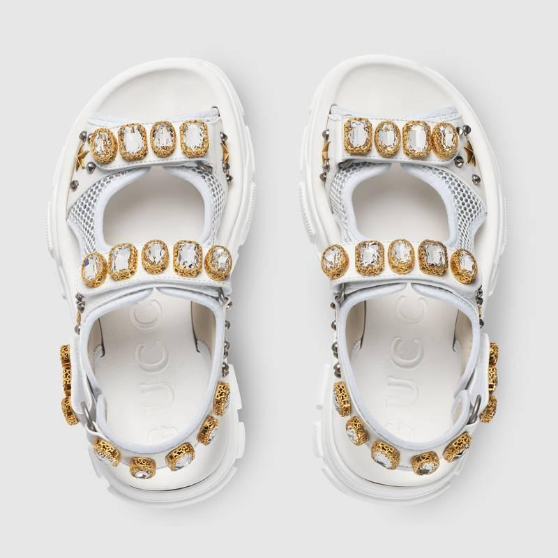 d4968342469 2019 gucci Leather and mesh sandal with crystals women sandals ...