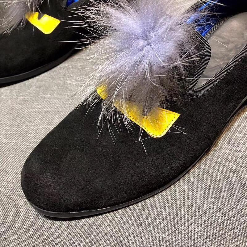 FendiMonster Fur Evening Slipper,