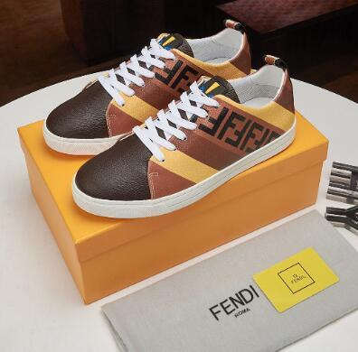 Fendi Men's Fendi Mania FF Leather Low-Top Sneakers women colorblock FF detail 11