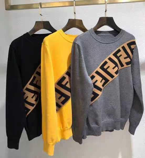 womens Fendi Men's Diagonal-Logo Wool Pullover Sweater