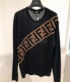 Fendi Men's Diagonal-Logo Wool Pullover Sweater diagonal 'FF' stripe women  4