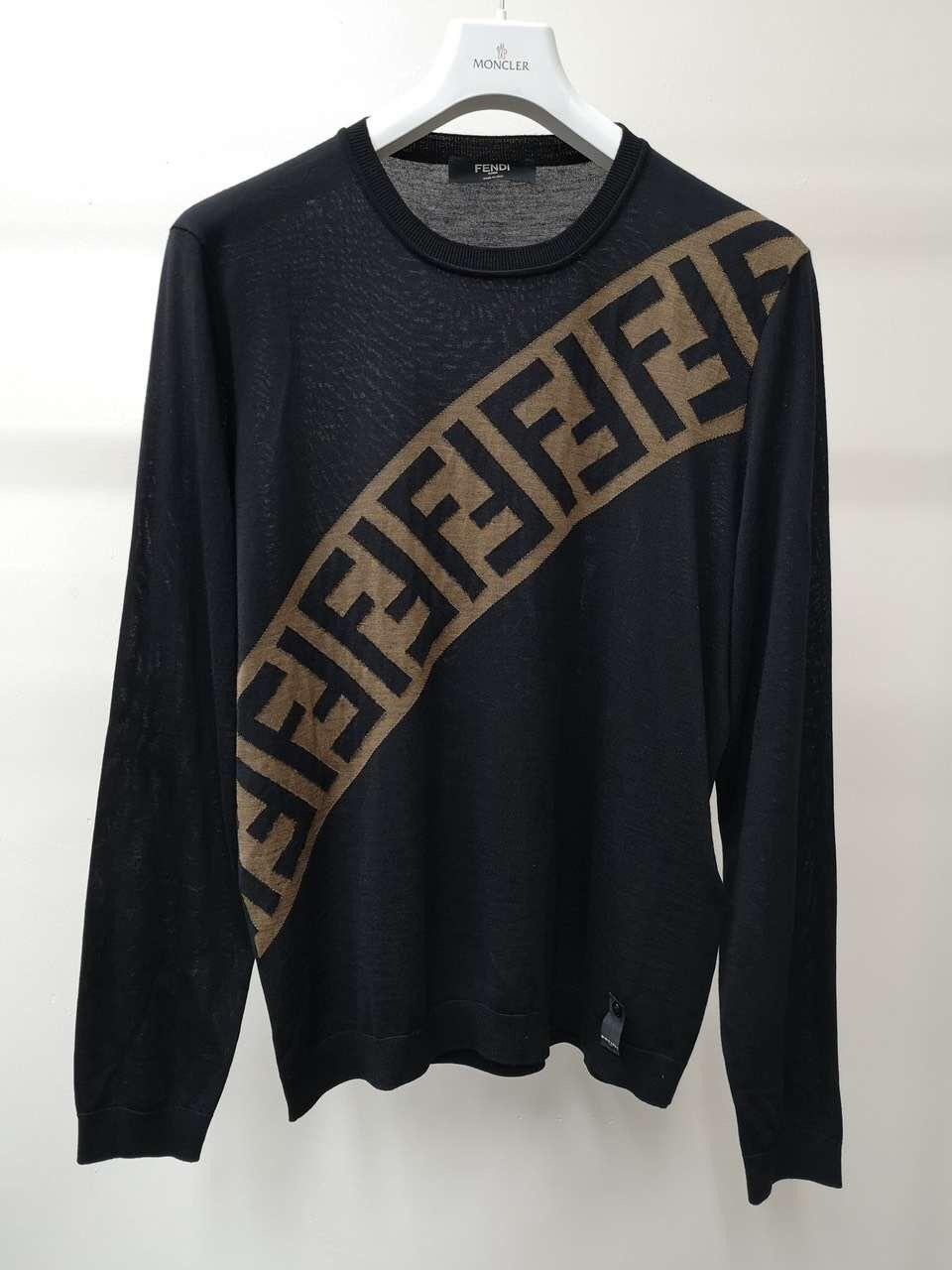 Fendi Men's Diagonal-Logo Wool Pullover Sweater diagonal 'FF' stripe women  5
