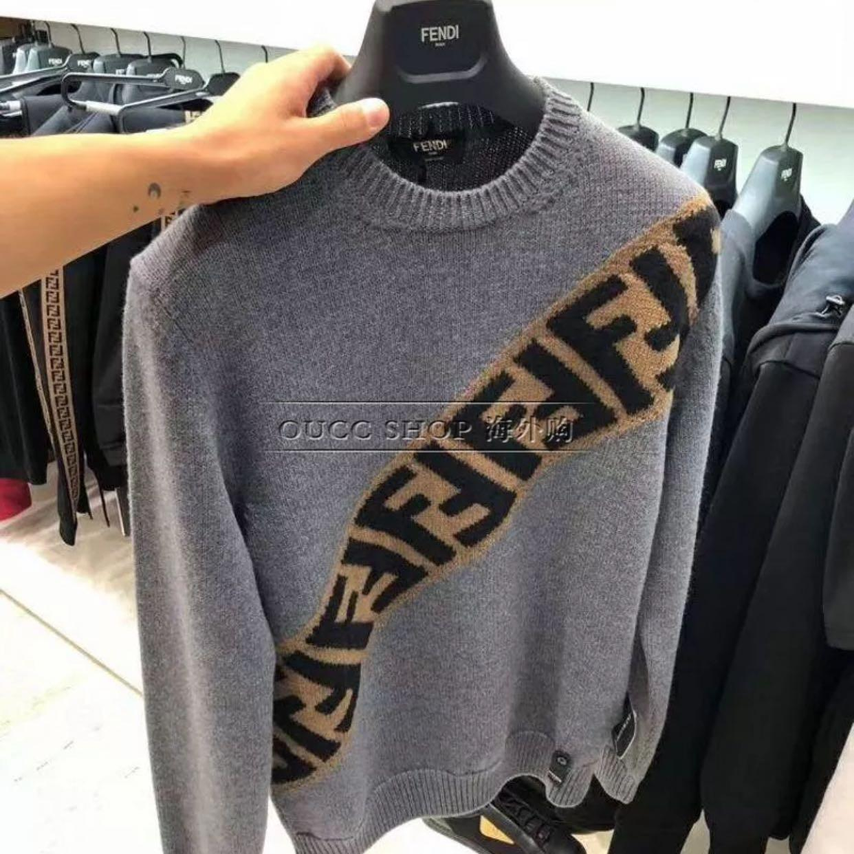 Fendi Men's Diagonal-Logo Wool Pullover Sweater diagonal 'FF' stripe women  7