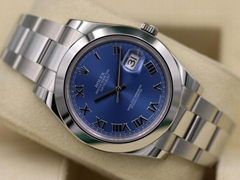 Rolex DateJust II 116300 Blue Roman Numeral Stainless - 2018 Box & Papers