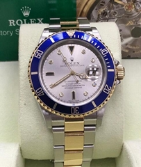 Rolex Submariner 16613 Silver Serti Diamond Dial 18K Yellow Gold & Steel  (Hot Product - 2*)