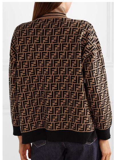 FENDI Intarsia cashmere turtleneck sweater FF turtleneck with ribbed trims cheap 12