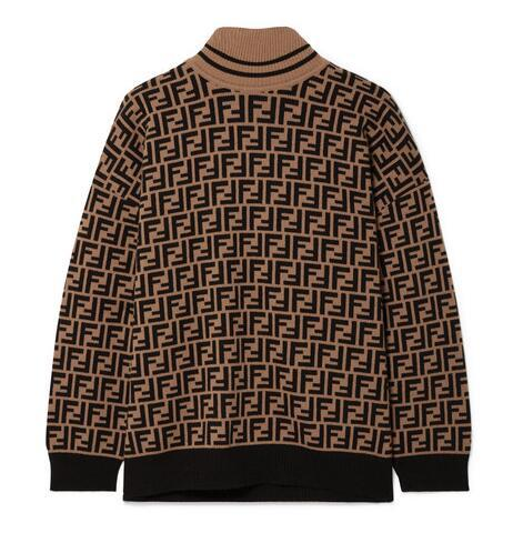 FENDI Intarsia cashmere turtleneck sweater FF turtleneck with ribbed trims cheap 11