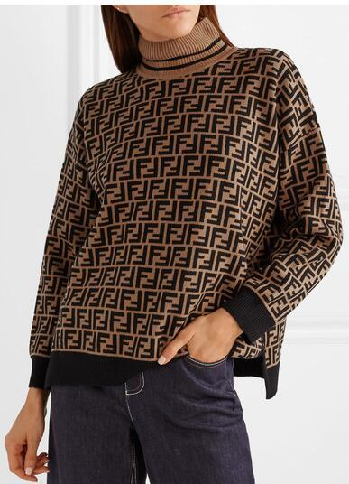 FENDI Intarsia cashmere turtleneck sweater FF turtleneck with ribbed trims cheap 10